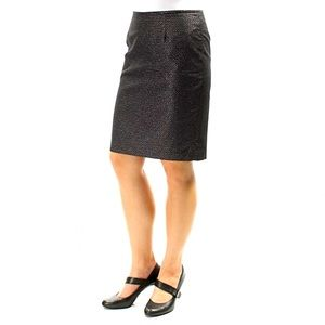Sparkly nubby black silver tweed skirt lined